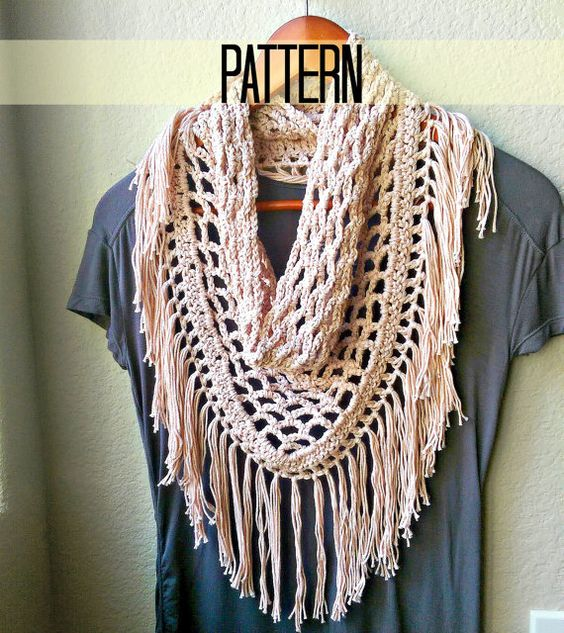 Make this quintessential boho crochet fringe scarf with a beginner-intermediate, step by step (with pictures!) pattern. Youll love the stylish triangle