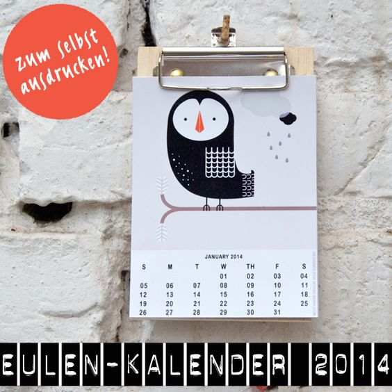 Der perfekte Kalender 2014 für Eulenliebhaber – und das kostenlos!!!