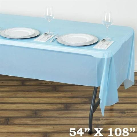 54 X 108 Serenity Blue 10 Mil Thick Waterproof Tablecloth Pvc Rectangle Disposable Tablecloth Plastic Table Covers Plastic Tables Table Cloth