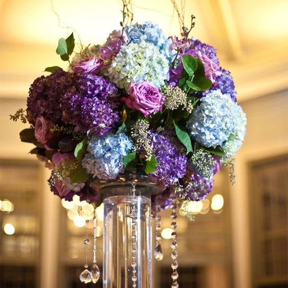 Blue and Purple Hydrangea Centerpiece // Lauren Rosenau Photography //  New Creations Flower Company // http://www.theknot.com/weddings/album/an-evening-garden-wedding-in-charlotte-nc-143990