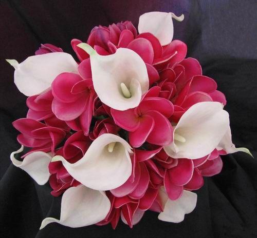 Natural Touch Bouquet Frangipani Plumeria Calla Lily