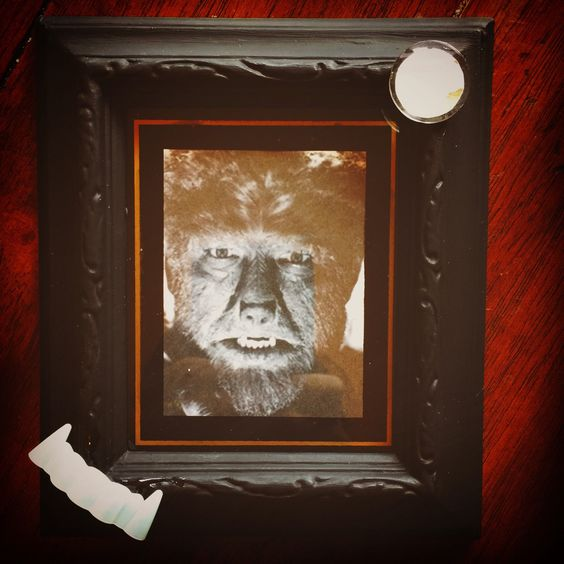 WolfMan print w/ frame - wolf teeth and full moon accents able to be hung on wall