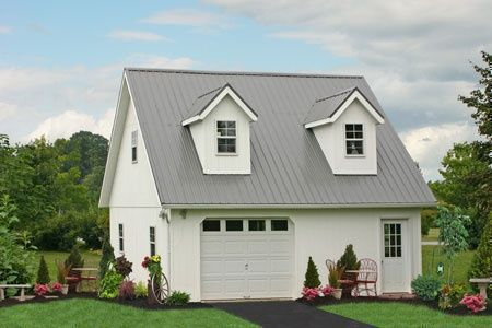 Prefab garage guest house loft farmhouse pinterest for Prefab garage with loft apartment