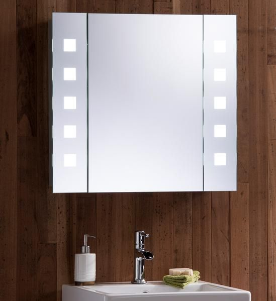 Led Illuminated Bathroom Mirror Cabinet Cabm20 Size 60hx65wx12dcm Bathroom Mirror Cabinet Mirror Cabinets Mirror