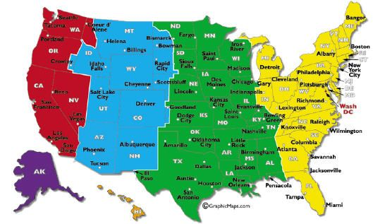 Cartina Fusi Orari Nel Mondo.Mappa Fusi Orari Usa Arkansas Viaggi Su Strade Americane Wyoming
