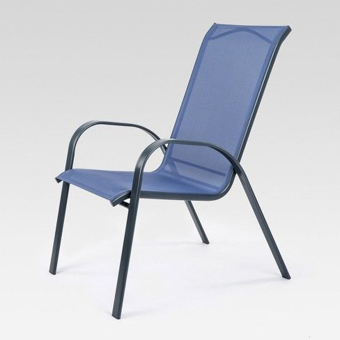 Stacking Sling Patio Dining Chair Dark Blue Threshold