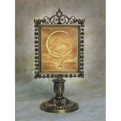 Mermaid and The Moon Victorian Lithophane Stand Lamp