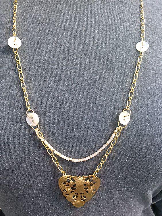 """Gold chain; MOP buttons; filigree gold heart focal.  16"""" G336. $15.00"""