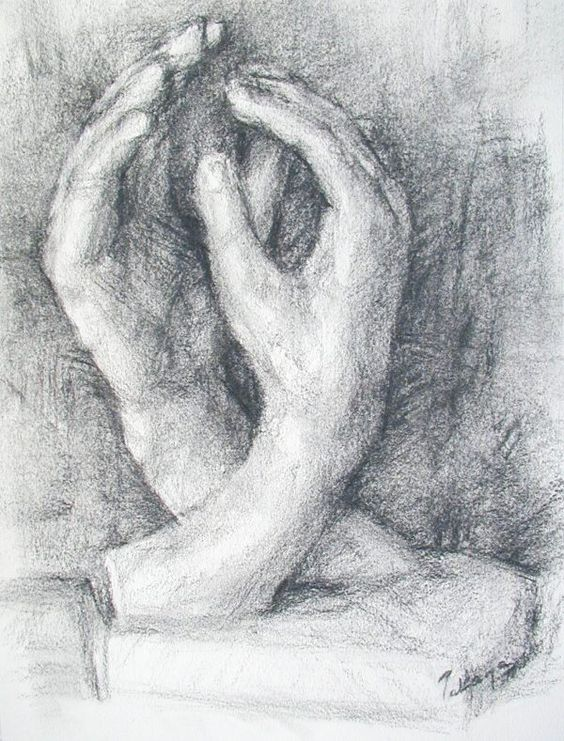 Cathedrale(Rodin) dessin au fusain