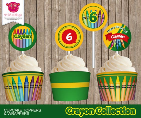 Printable Crayon Art Party Cupcake Toppers and by ArtfulMonkeys