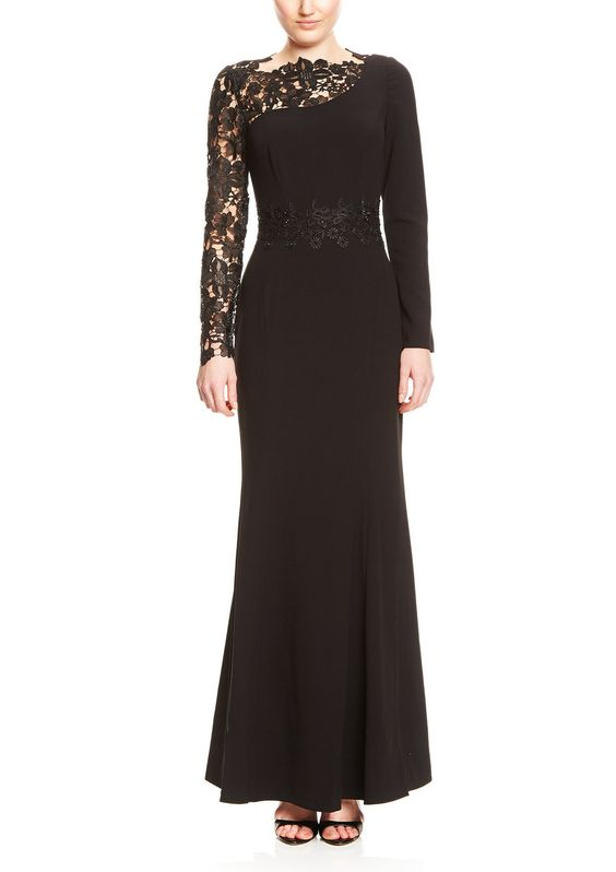400000824895-1DECODE 1.8   $249.00 Lace Illusion Sleeve Gown $99.99 COLOR : BLACK
