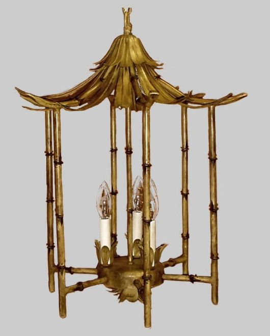 love this pagoda bamboo chandelier By Wildwood lamps