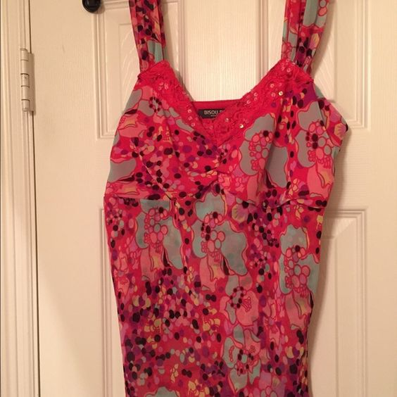 Top/Cami Michele Bohbot, floral bright colored Cami.  Side zipper sheer to touch but not see through.    Only worn a few times so no stains or pulls. Michele Bohbot Tops Camisoles