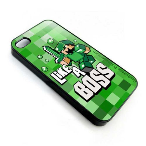 Funny Cute Minecraft like a boss apple iphone 3, 4 4s, 5 5s, iPod 4, iPod 5 case