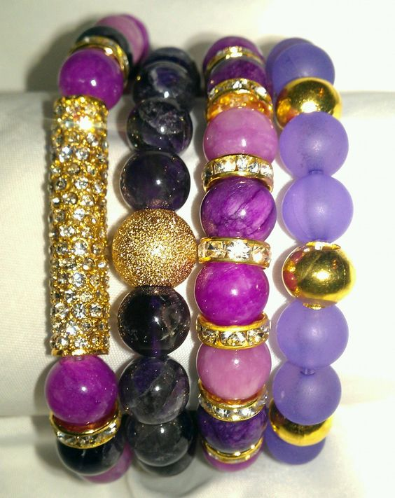 N'Genious Creations - PURPLE GEMSTONE BRACELET SET  (GOLD TONE), $50.00 (http://www.ngeniouscreations.com/purple-gemstone-bracelet-set-gold-tone/)