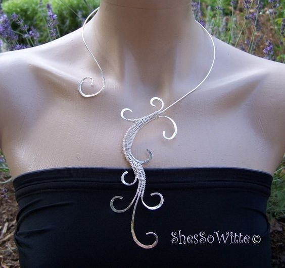 Sterling Silver ShesSoWitte Signature Swirl Collar Sexy Sensuous Statement Necklace. $100.00, via Etsy.
