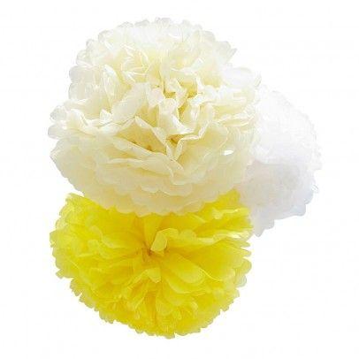 Pom Dekokugel - gelb, beige, weiß  Engel