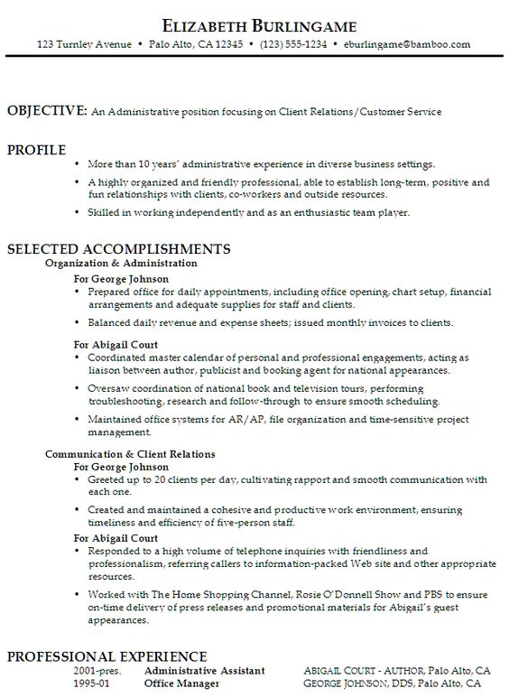 CSR resume or Customer Service Representative resume, include the - Customer Relations Resume