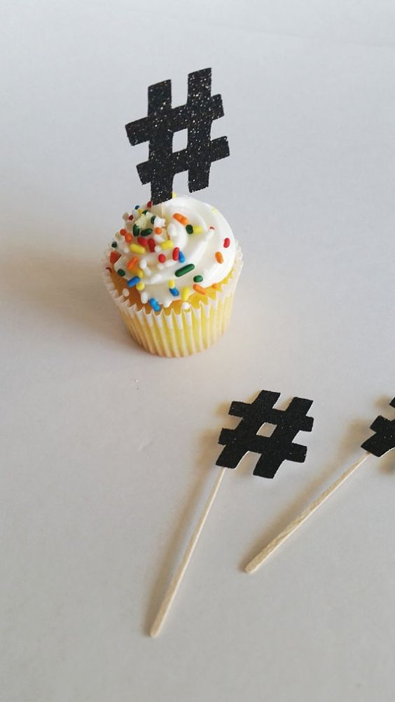 This listing is for 12 mini cupcake or cake toppers in the shape of a #hashtag. They are cut from one sided glitter cardstock paper and minor