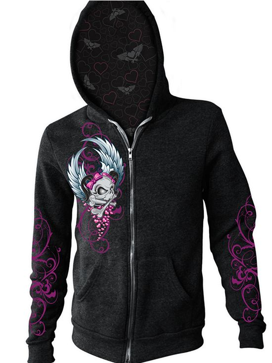 """Women's """"Girl Skull"""" Zip Up Hoodie by Lethal Angels (Black) #InkedShop #Hoodie #hoodie #loungewear"""
