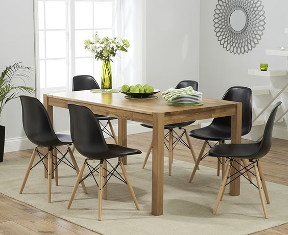 ... Solid Oak Dining Table With Charles Eames Style Dsw Eiffel Chairs At  Oak Furniture Superstore Kitchen Colour Scheme Ideas Pinterest With Habufa  Mallorca