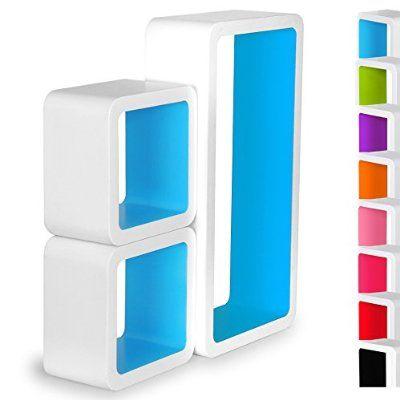 WOLTU RG9229bl 3er Set Lounge Cube Regal Retro Wandregal - wohnzimmer blau holz