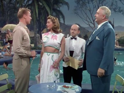 Van Johnson, Esther Williams, Vince Barnett and Lauritz Melchior in Thrill of a Romance (1945).
