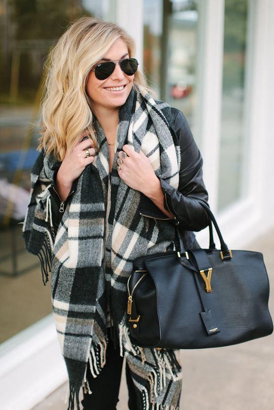 black and white oversized plaid scarf with black satchel