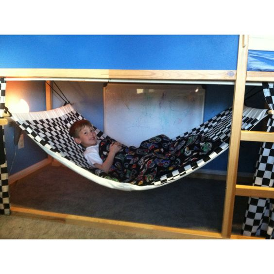 Kids hand made bunk bed hammock made with that Ikea bunk bed with