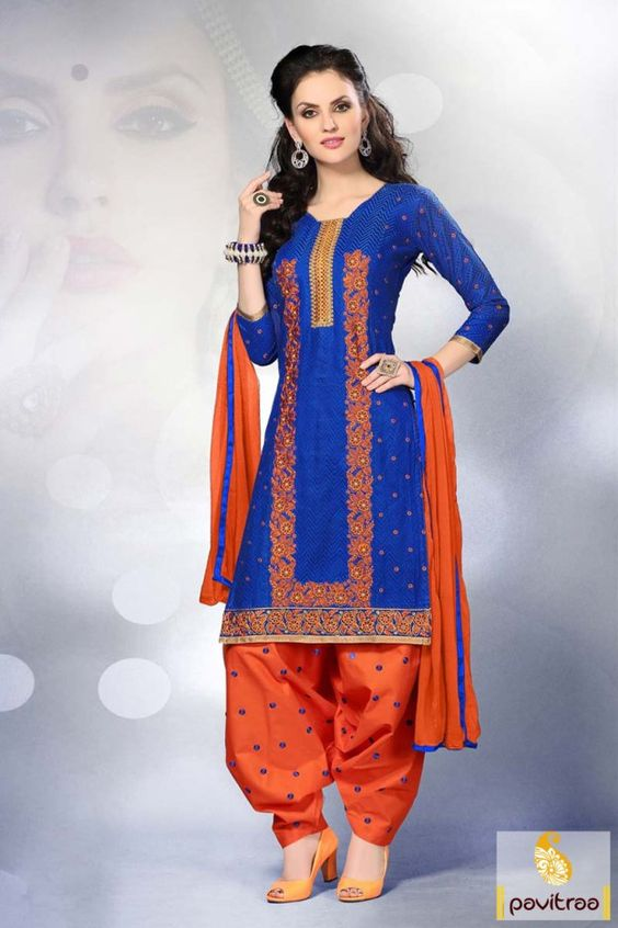 Blue and Orange, #Embroidery work, #Design, #Punjabi Salwar Suit