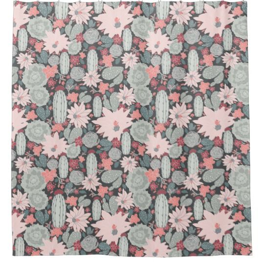 Succulent Plants And Cactus In Pink Mint Pattern Shower Curtain Zazzle Com Plant Pattern Patterned Shower Curtain Trendy Plants