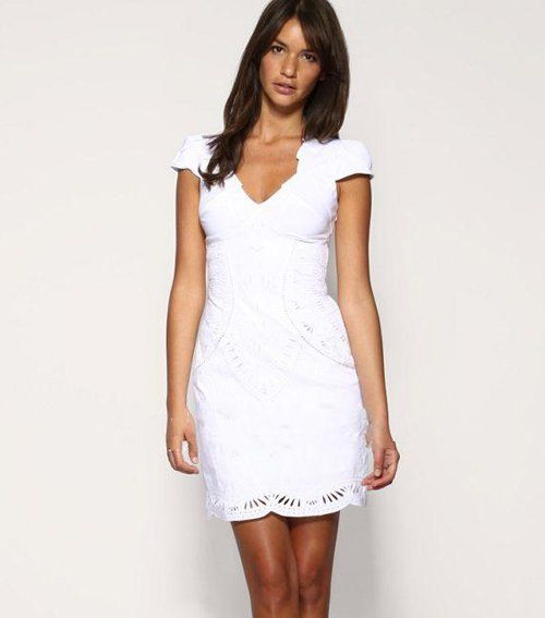 women Dresses V neck Dress Short Sleeve White Dresses UK size 8 10 ...