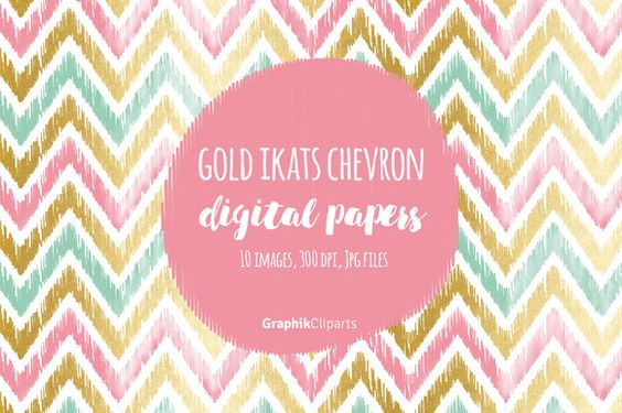 Gold Ikat Chevron Digital Papers  @creativework247