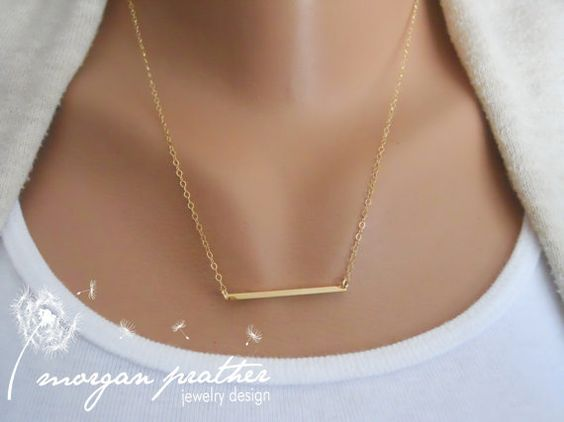 Tiny Bar Necklace in Gold  Little Bar Pendant by thelovelyraindrop, $25.00