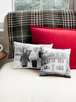 Picture-Perfect Pillows. Spark a trip down memory lane with an old family photo and cool printer-friendly fabric    Read more: Handmade Christmas Gifts - DIY Holiday Gifts - Country Living