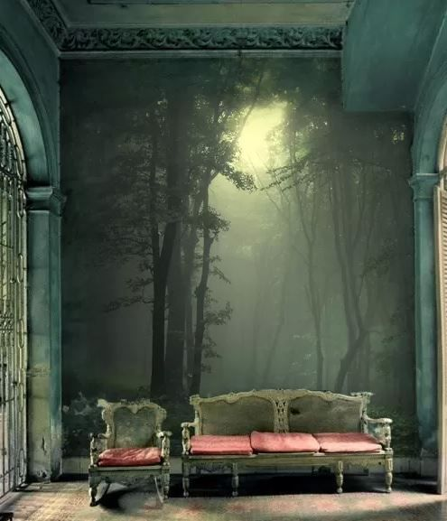 "AMAZING WALLPAPER. Wall Mural, ""Green forest after rain"" by andreiuc88, antique couch, antique chair"