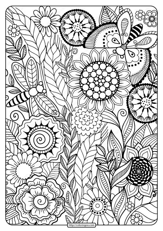 Printable Summer Flowers Pdf Coloring Page Mandala Coloring Pages Summer Coloring Pictures Coloring Pictures