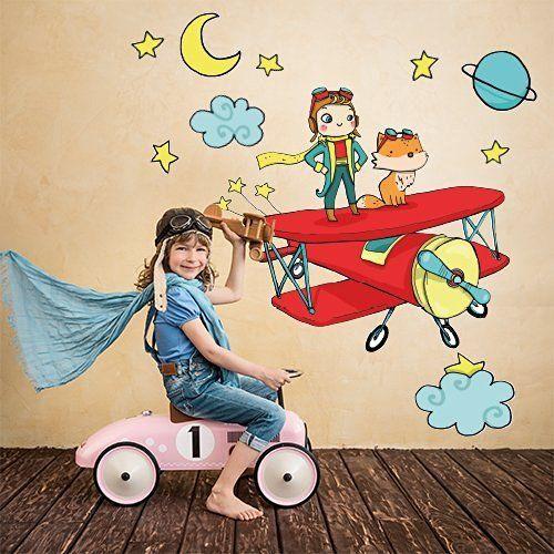 """R00310 Adesivo murale per bambini Wall Art """"Il Piccolo Principe sull'aereo 02"""" - Misure 120x30 cm - Decorazione parete, adesivi per muro, carta da parati, http://www.amazon.it/dp/B015RKCYVA/ref=cm_sw_r_pi_awdl_x_-gv0xbVW2W37T"""