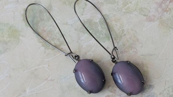 Lavender and Black Rhinestone Earrings  Shabby by ArtistInJewelry