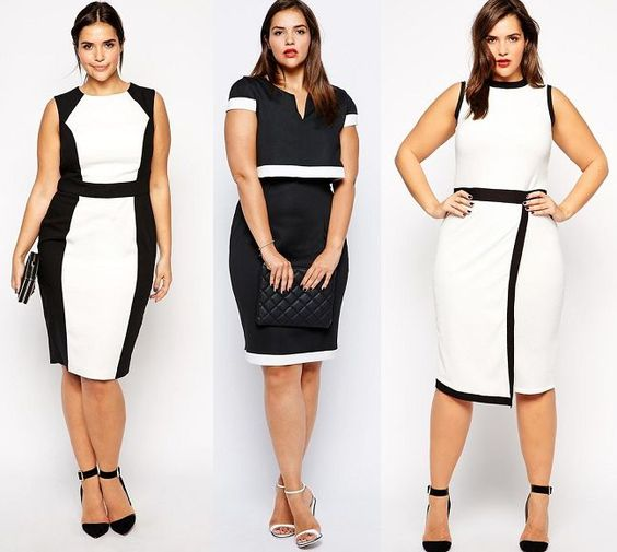 White plus size dresses, Plus size dresses and Black and white on ...
