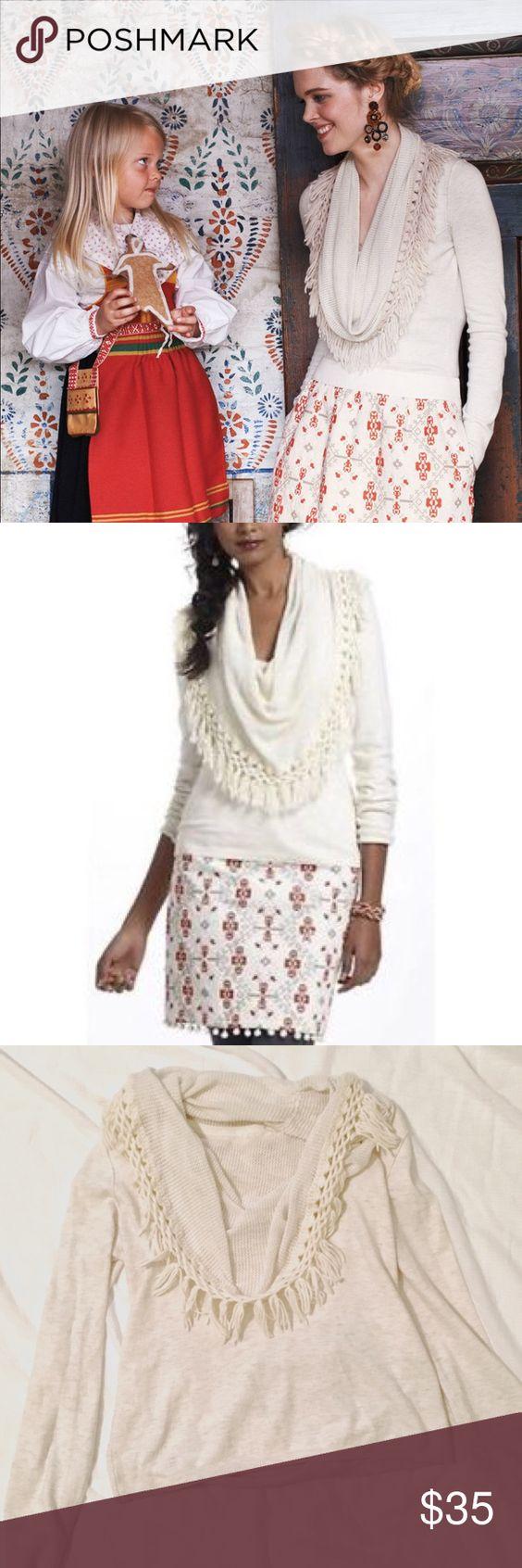 Anthro Cream Fringe Cowl Neck Sweater