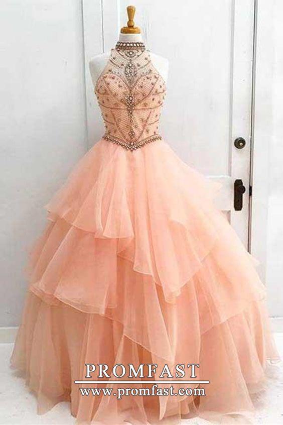 Charming High Neck Ruffle Beading Ball Gown Long Formal Prom Dress Pfp0846 Lange Elegante Kleider Pinke Abschlussballkleider Ballkleid