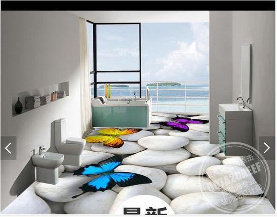 (Buy here: http://appdeal.ru/1n12 ) 3d wallpaper custom 3d flooring painting wallpaper room murals 3 d white cobble floor painting butterfly wall 3d photo wallpaer for just US $62.16