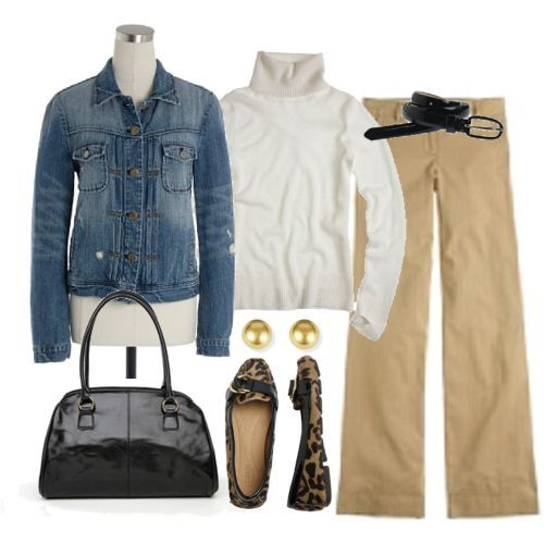 Khaki casual....the All-American classic look!  And I have been wondering what to wear with those shoes!