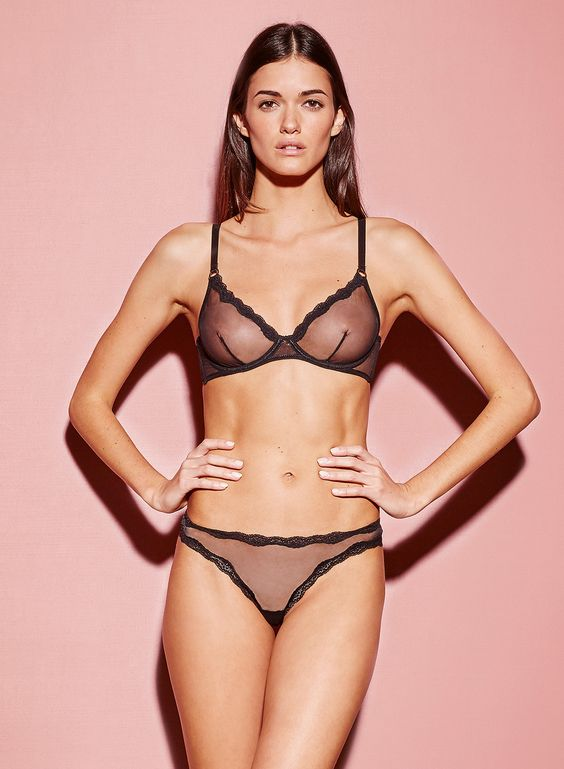 Sheer demi bra with unpadded lace-trimmed cups. Offers support and  sexiness, making it our most essential underpinning. Pair with the Sheer Tulle  Bikini.