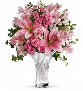 This Vase is Stunning, frosted white with shades of pink rose, lillies, alstromeria, status all ready to send to Mommy.: