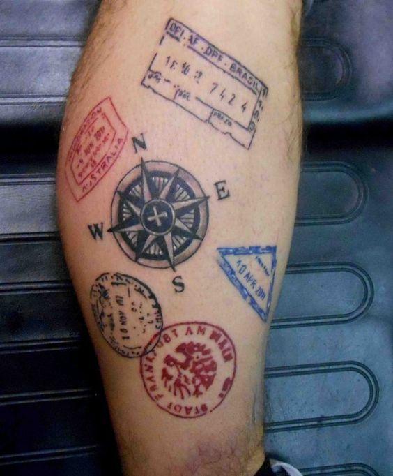 En mode timbre tatouages pinterest rose des vents mandalas et voyage - Tatouage globe terrestre ...