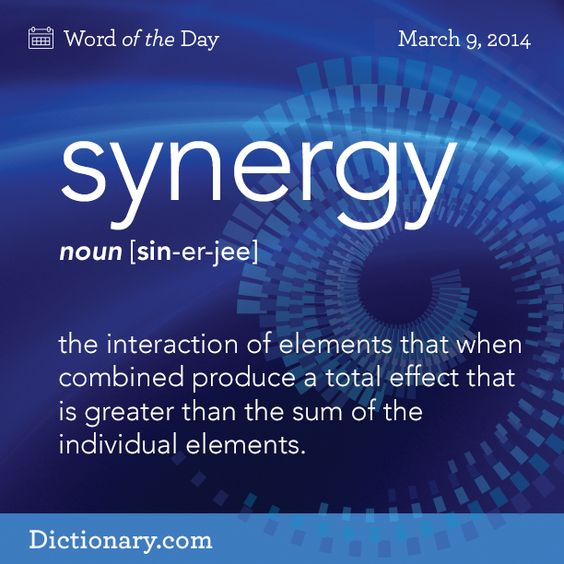 Dictionary.com's Word of the Day - synergy - the interaction of elements that when combined produce a total eff...
