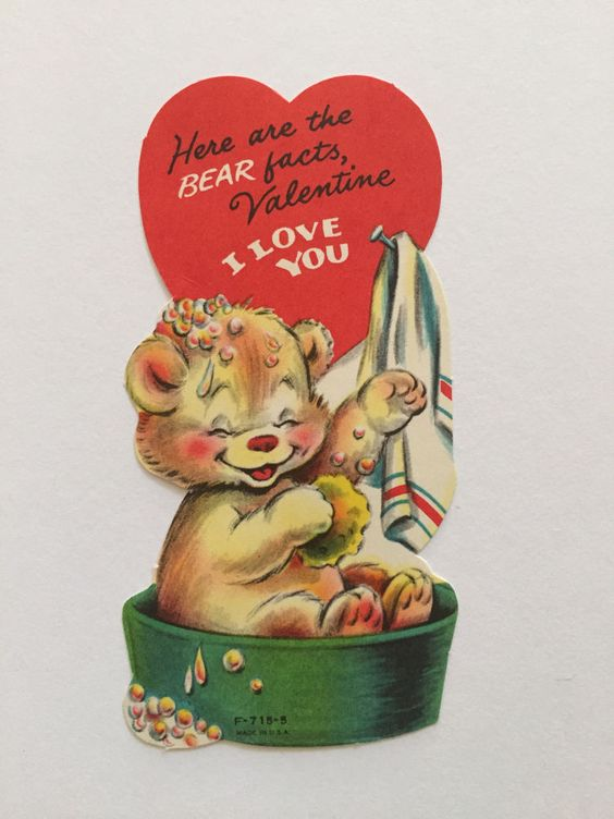 "Vintage Valentine Card ""Here are the Bear Facts..."" Cute Teddy Bear"