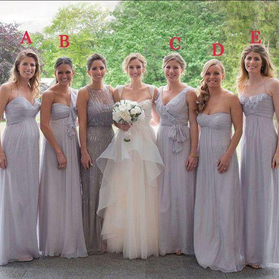 2015 Gray Bridesmaid Dresses Long Cheap Chiffon Bridesmaid Dress